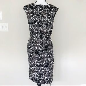 Tory Burch 100% Silk Boat Neck Ruched Dress